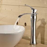 Waterfall Bathroom Tap Bath Basin Mixer Tap Chrome Square Mono Brass Faucet