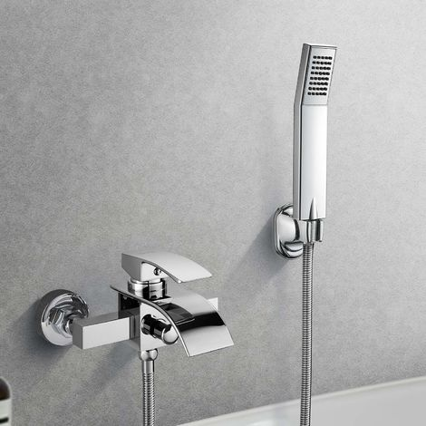 Waterfall Bathtub Faucet with Elegant and Modern Chrome Waterfall Faucet with Wall Mount with Hand Shower for Bathroom Bathroom Shower Set Rainfall Shower Faucet Shower Faucet Bathtub Faucet
