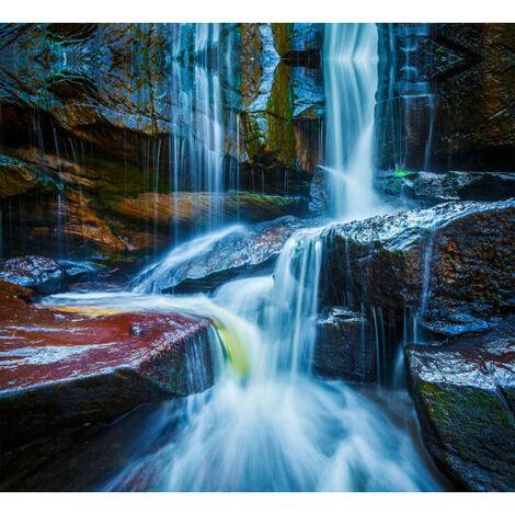 Waterfall big, rideau imprimé chutes d'eau sur rocher effet multicolore 280x245 cm, 2 parts