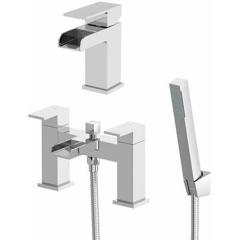 Waterfall Chrome Basin Sink Mono Mixer Bathroom Tap Shower Mixer