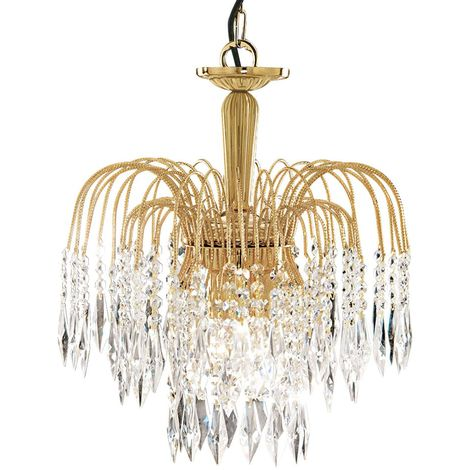 Waterfall Gold 3 Light Ceiling Fitting With Crystal Buttons & Drops