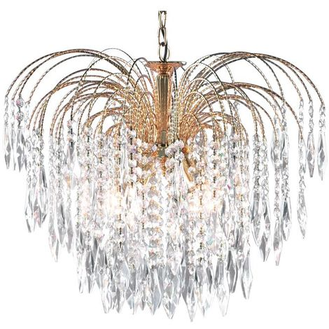 Waterfall Gold 5 Light Ceiling Fitting With Crystal Buttons & Drops