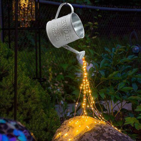 Waterfall light, lighted fairy lights, copper wire garden fairy lights, lanterns funny garden lawn ornaments, solar LED lights garden art light decoration