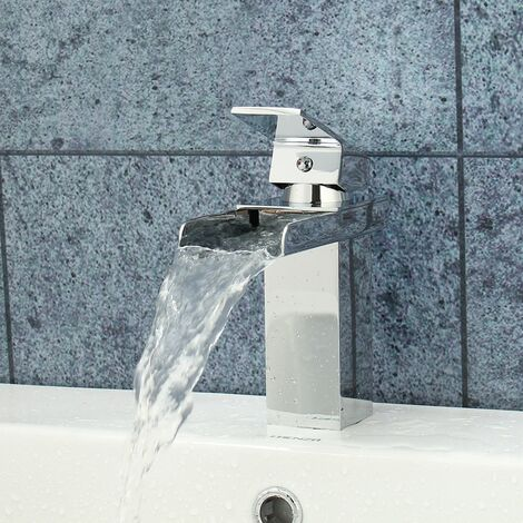 Waterfall Mixer Tap Chrome Sink Fountain for Kitchen Bathroom with Hose