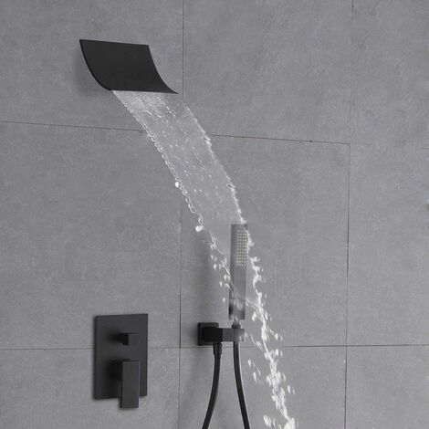 """main image of """"Waterfall Shower Head and Solid Black Hand Shower System"""""""