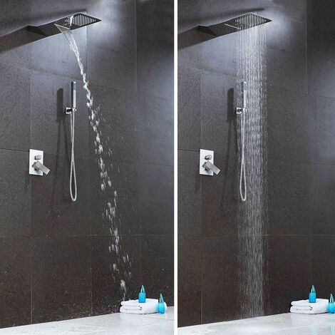 Waterfall Wall-Mounted Mixer Shower Set Handset 2 Way Valve & Bath Filler Tap