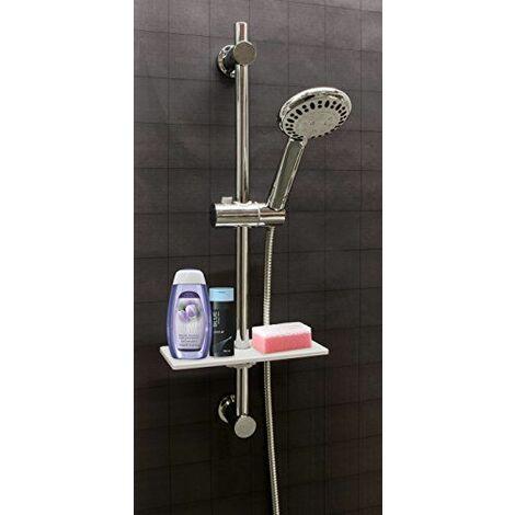 Waterful Omega Tablette universelle en plastique blanc pour barre de douche Porte-savon 25 cm x 10 cm