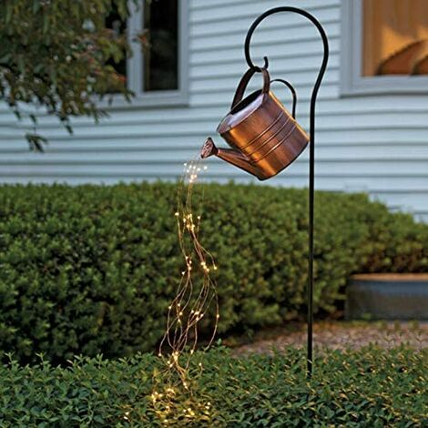 Watering Can LED String Light, Pouring Out Starry Fairy Night Light for Yard Garden Path Art Lamp Lights -Button Battery Powered