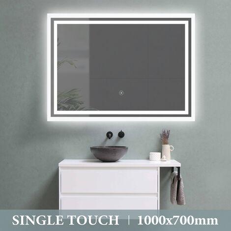 Waterproof 1000X700 single Touch Control LED Illuminated Light Bathroom Mirror UK Plug