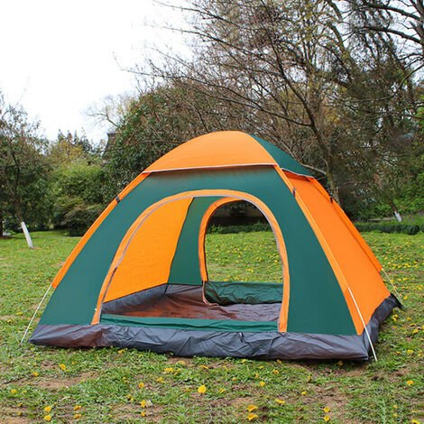 Waterproof 3-4 Person Camping Tent Automatic Pop Up Quick Shelter Outdoor Hiking 200*200*135cm orange