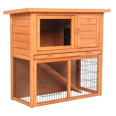 "Waterproof 36"" 2 Tiers Pet Rabbit Hutch Chiken Coop Cage Hen House Wood Color"