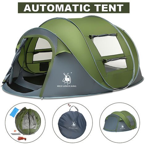 Waterproof 5-8 People Automatic Pop Up Large Family Tent Camping Hiking Tent 290*200*130cm green