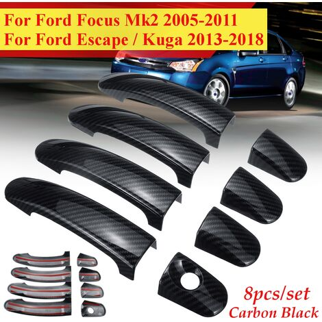 Waterproof 8pcs ABS Carbon Black 4 Door Handles Covers Full Set For Ford Focus / Escape / Kuga 13-18