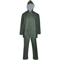 Waterproof Heavy-duty 2-piece Rain Suit with Hood Green XL