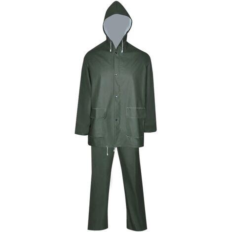 Waterproof Heavy-duty 2-piece Rain Suit with Hood Green XXL