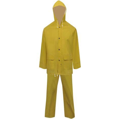 Waterproof Heavy-duty 2-piece Rain Suit with Hood Yellow XL
