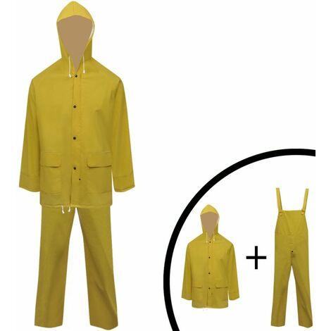 Waterproof Heavy-duty 2-piece Rain Suit with Hood Yellow XL QAH00456