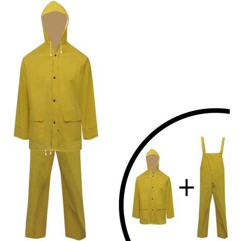 Waterproof Heavy-duty 2-piece Rain Suit with Hood Yellow XL VD00456