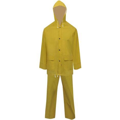 Waterproof Heavy-duty 2-piece Rain Suit with Hood Yellow XXL