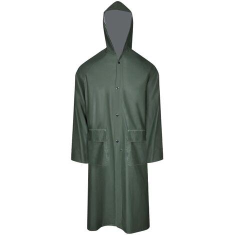 Waterproof Heavy-duty Long Raincoat with Hood Green M