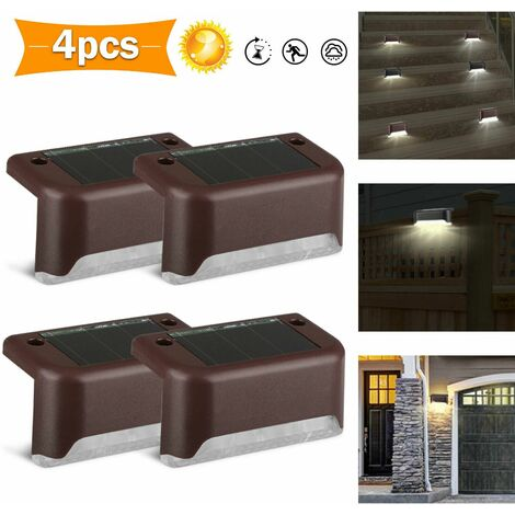 """main image of """"Waterproof IP55 Solar Powered LED Deck Light Wall Sconce Warm White Scenery Staircase Hallway Home Exterior Patio Stairs Garden Path Fences Decor (Warm White, Set of 4)"""""""