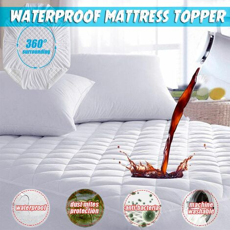Waterproof Mattress Topper Protector Hypoallergenic Cover Cushion Against Dust Mites Clean Home Decor (One Size)