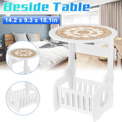 Waterproof Modern Coffee Round Beside Table Tea Nightstand Plant Furniture Space Saving