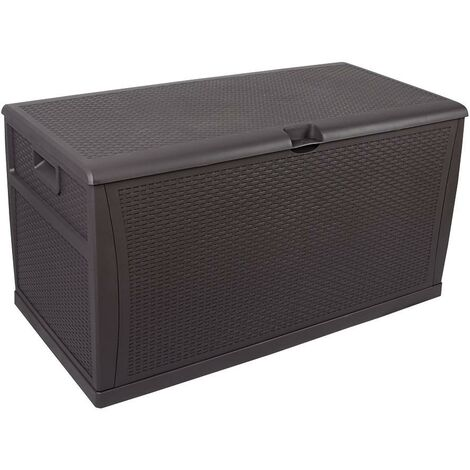 Waterproof Outdoor Lockable Brown Storage Chest Box Unit - Cushions Toys Tools