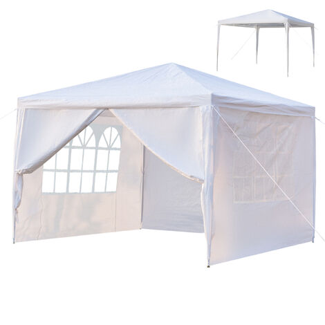 """main image of """"Waterproof PE Gazebo with 4 Removable Panels, Portable Heavy Duty Canopy Tent for Garden Market Stalls Party Wedding Beach Outdoor (3m x 3m)"""""""