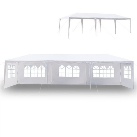Waterproof PE Gazebo with 5 Removable Panels, Portable Heavy Duty Canopy Tent for Garden Market Stalls Party Wedding Beach Outdoor (3m x 9m)