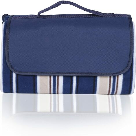 Waterproof Picnic Mat Blanket Foldable Blanket for Camping Beach Mat made of Three Layers (Fleece, Pearl Cotton and PEVA) and with Portable Handle, 200 x 200cm