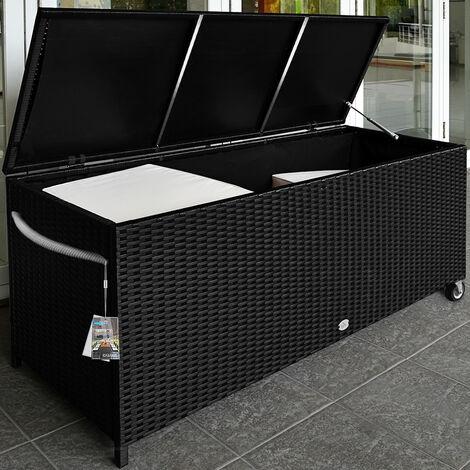 Waterproof Rattan Garden Storage Box Foldable Aluminium Cushion Chest Hub Lining Black Patio Deck Container Casters