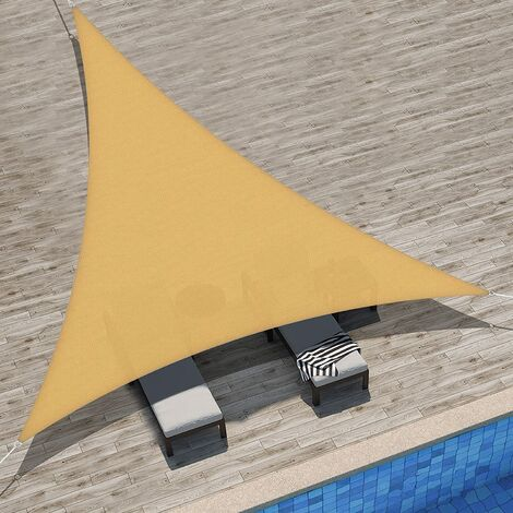 Waterproof Shade Sail UV Rays Protection, Resistant and Breathable for Garden Terrace Balcony Beige Sand Triangular 2x2x2m