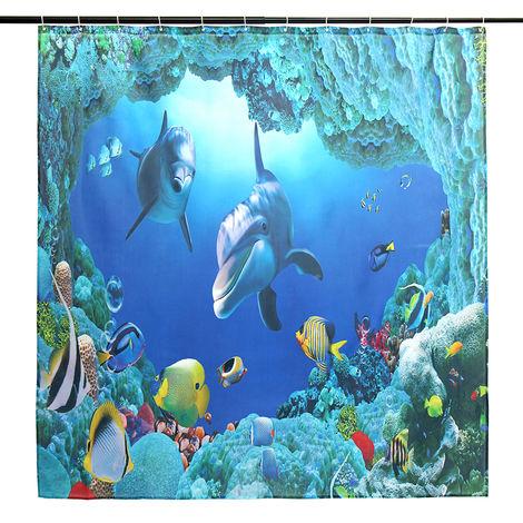 ?Waterproof Shower Curtain + 12 hooks 180x180cm Hasaki