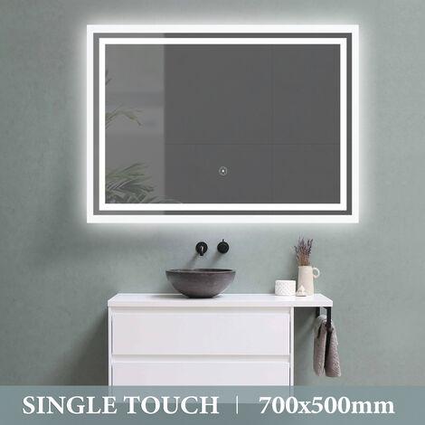 Waterproof Single Touch Control LED Illuminated Light Bathroom Mirror 500X700MM UK Plug