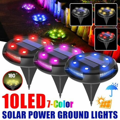 waterproof solar power buried 6 RGB under ground lamp + 4 outdoor garden side lights (multicolor, 1pcs 10LED)
