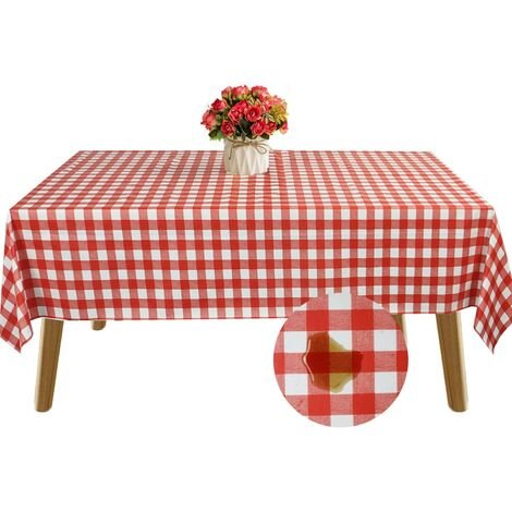 Waterproof Table Cloth Oil-Proof Rectangular Outdoor Tablecloth PVC Spillproof Table Cover Dining Room Table Protector (Red, 54x108 inch)