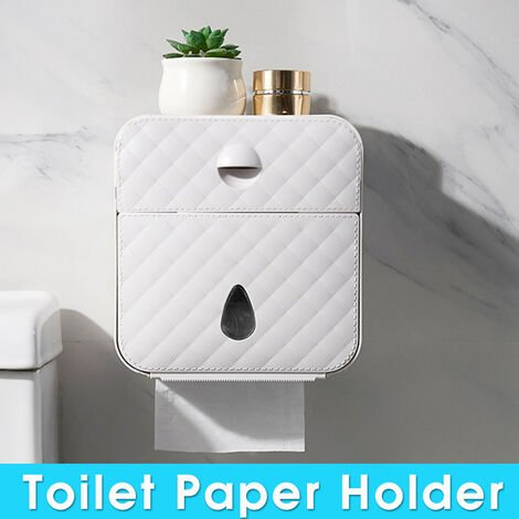 Waterproof Toilet Roll Holder Wall Mounted Toilet Tissue Dispenser (Gray)