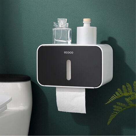 Waterproof Toilet Tissue Roll Storage Box for Bathroom (Black)