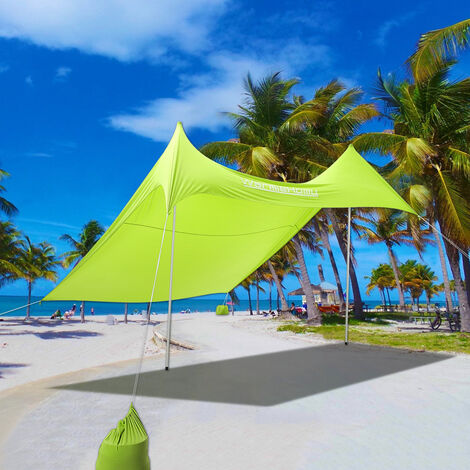Waterproof UV Protection Outdoor Sun Shade Canopy Tent Awning Shelter Beach Tent, Yellow