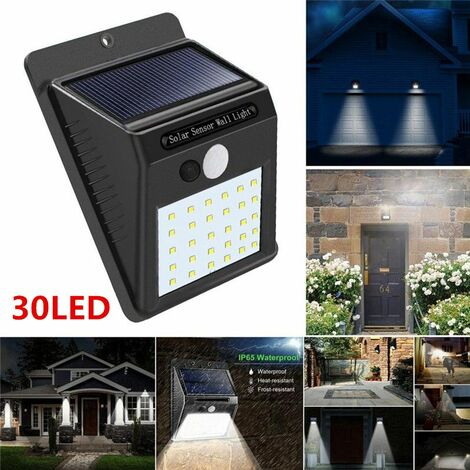 Waterproof Wireless PIR Motion Sensor Solar Outdoor Lights, 30LED Auto On / Off Security Lights for Path Patio Yard Patio Deck Porch Garden Fence WASHING