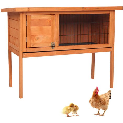 """Waterproof Wooden Chicken Cage, 36"""" Rabbit Guinea Pig Hutch Elevated Pet House Bunny Cage Slide Out Tray Openable Roof Outdoor Garden"""