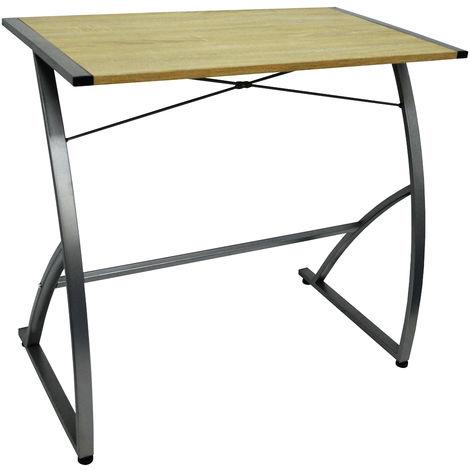 WATSONS - Compact Office Workstation / Computer Desk - Oak/Silver