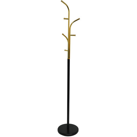 WATSONS - Metal Freestanding Coat Stand With Curved Hooks - Black / Gold