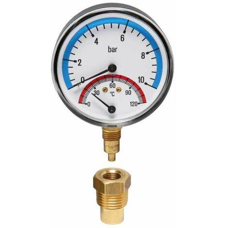 Watts Thermomanometer Manothermometer Thermometer Manometer radial 10 bar 20 - 120°C TMRA10