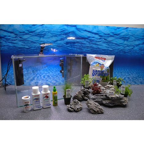 Wave Box ORION 45 Nano Aquarium inkl. Dekoration Komplettaquarium Filteranlage