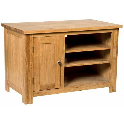 Waverly Oak 1 Door Small TV Stand Unit in Light Oak Finish   Media Cabinet   Entertainment Table   Solid Wooden 2 Shelf Unit