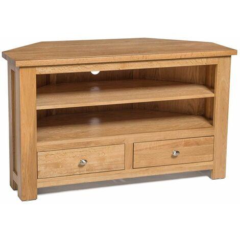 Waverly Oak 2 Drawer Corner TV Stand Unit in Light Oak Finish  Media Cabinet   Entertainment Table   Solid Wooden Unit