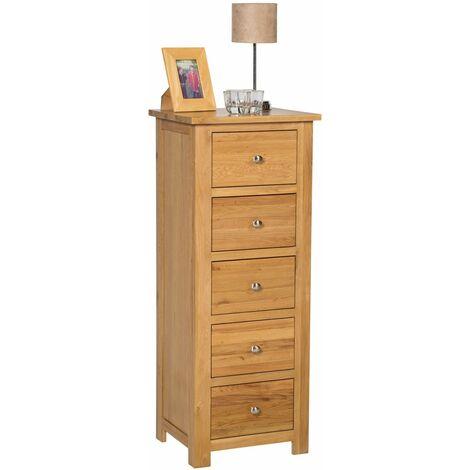 Waverly Oak 5 Drawer Chest of Drawers in Light Oak Finish | Solid Wooden Storage