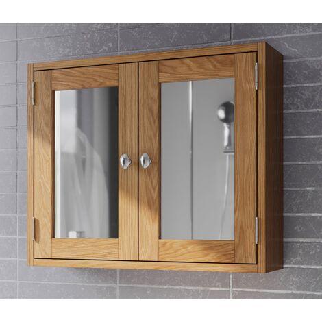 "main image of ""Waverly Oak Bathroom Cabinet in Light Oak Finish | Solid Wooden Wall Mounted Storage Mirror Cupboard/Unit"""